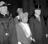Sultan Said bin Taimur Bin Faisal arriving in Washington DC, USA, 1938, to repay a visit made by Edmund Roberts (1832), who was appointed by President Andrew Jackson to negotiate treaties with small nations of the Orient, with Secretary of State Cordell Hull.<br/><br/>  Said bin Taimur (13 August 1910 – 19 October 1972) (Arabic: سعيد بن تيمور‎) was the sultan of Muscat and Oman (the country later renamed to Oman) from 10 February 1932 until his overthrow on 23 July 1970.